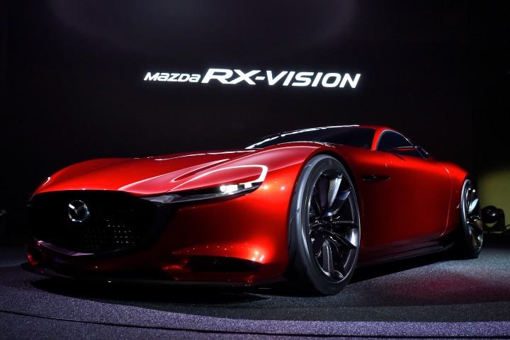 TOKYO, JAPAN - OCTOBER 28: The Mazda RX-VISION is displayed during the Tokyo Motor Show 2015 at Tokyo Big Sight on October 28, 2015 in Tokyo, Japan. RX-VISION represents a vision of the future that Mazda hopes to one day make into reality: a front-engine, rear-wheel drive sports car with exquisite, KODO design-based proportions only Mazda could envision, and powered by the next-generation SKYACTIV-R rotary engine. (Photo by Koki Nagahama/Getty Images for Mazda Motor Corporation)