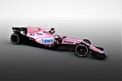 Verdens første pink- Formel 1 racere. De to Force India bliver ufatteligt lette at spotte i årets F1 felt.